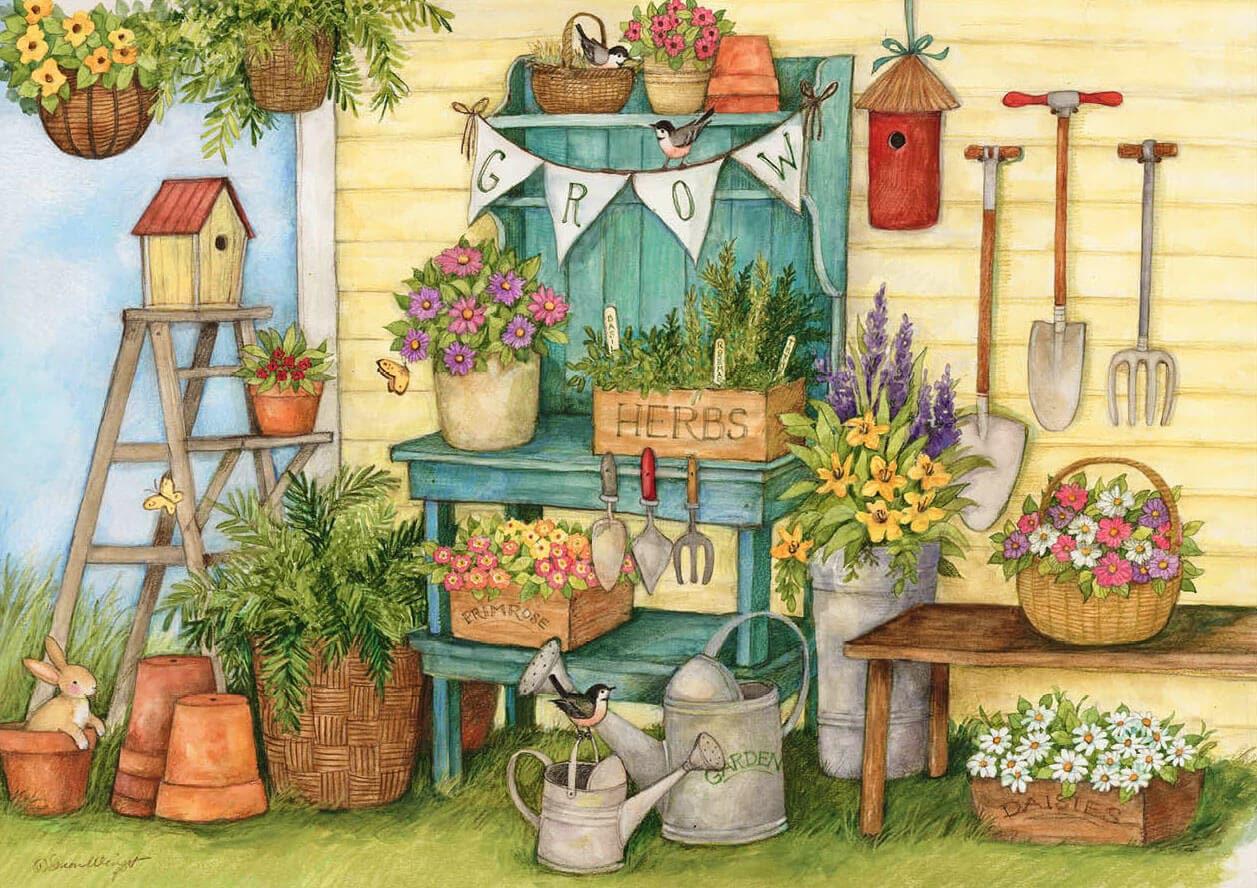 Bahçe temalı dekupaj deseni