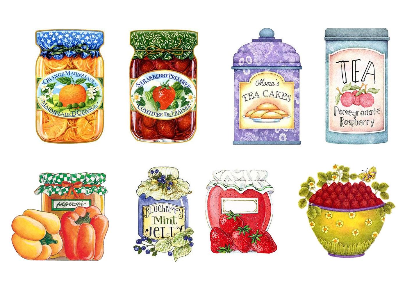 baharatlık ve mutfak temalı dekupaj desenleri
