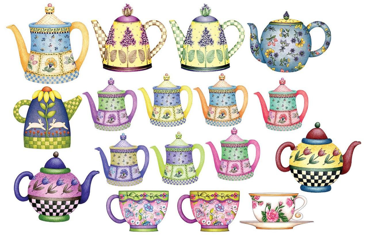 çaydanlık temalı dekupaj desenleri