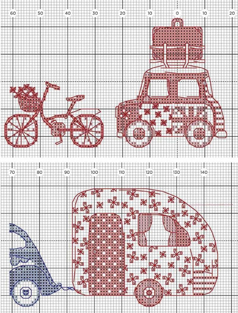 Çarpı işi bisiklet ve arabalı şema