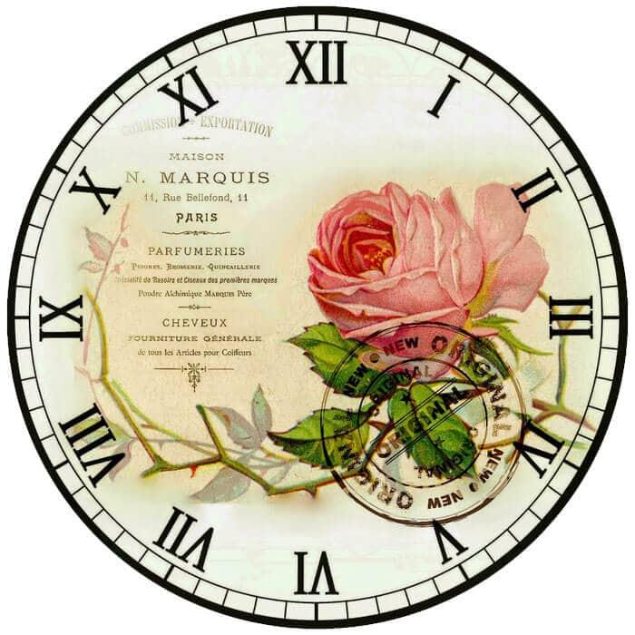 Ahşap boyama saat için kullanabileceğiniz dekupaj resmi