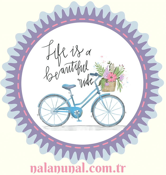 Eflatun renkte bisikletli dekupaj deseni