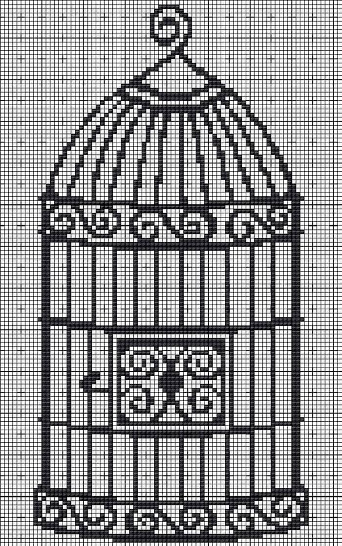 Etamin işi kuş kafesi şeması