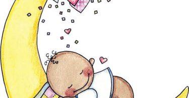 Ay üzerinde uyuyan bebek resmi