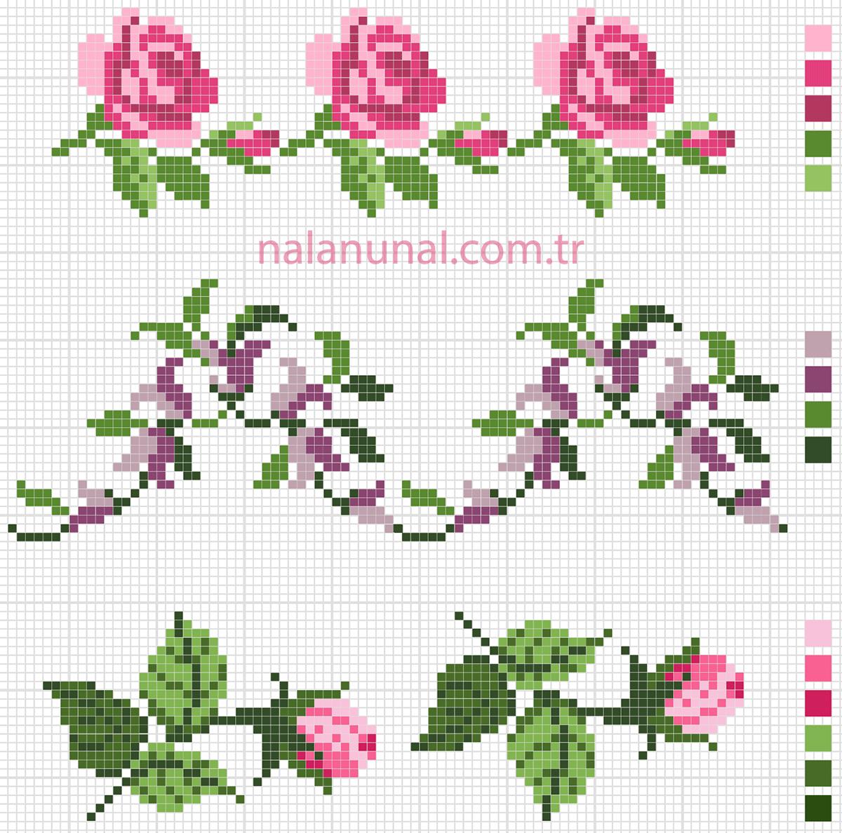 Havlu kenarı için çiçekli kanaviçe şeması