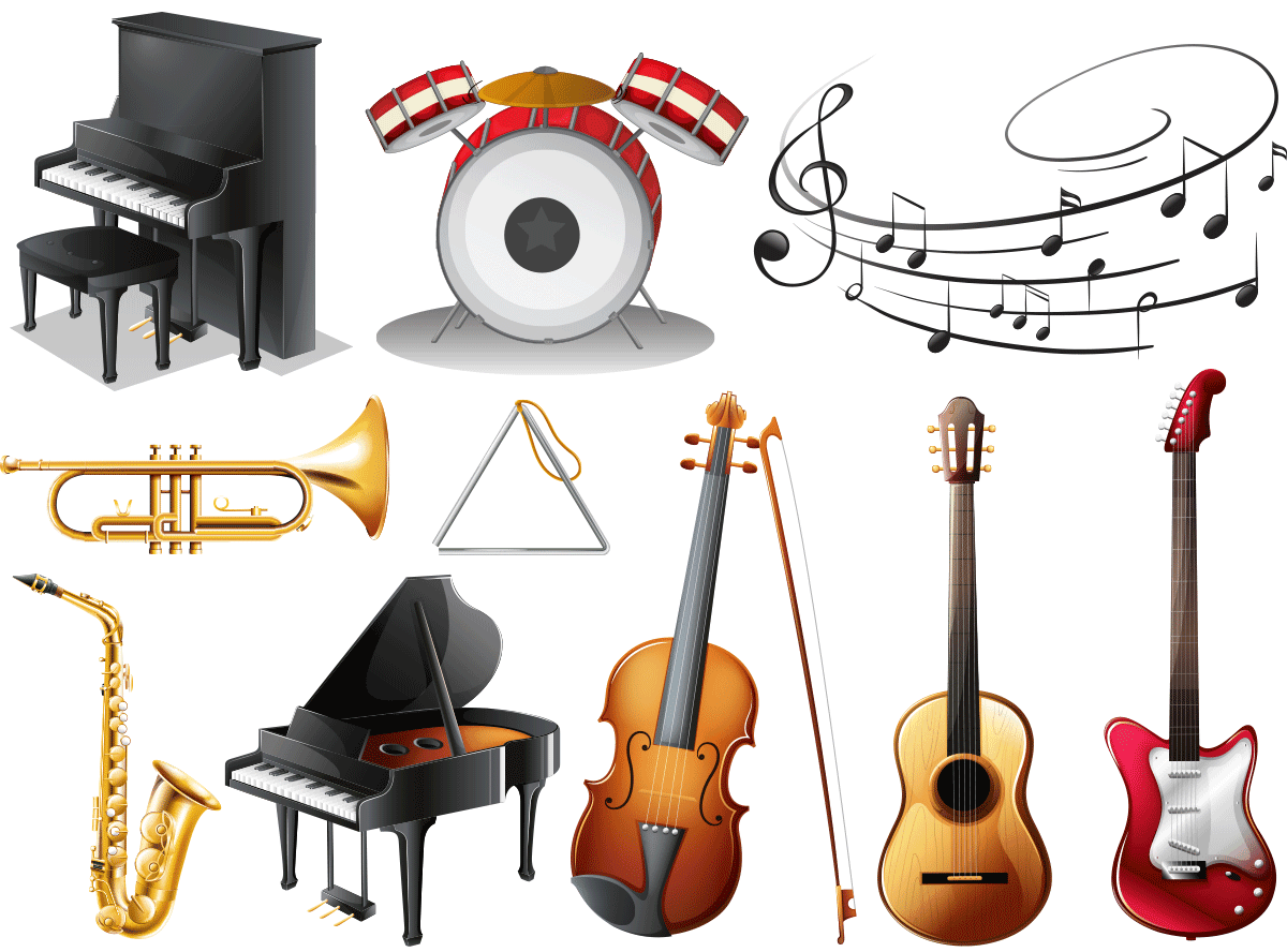 Piyano ve müzik temalı dekupaj resimleri