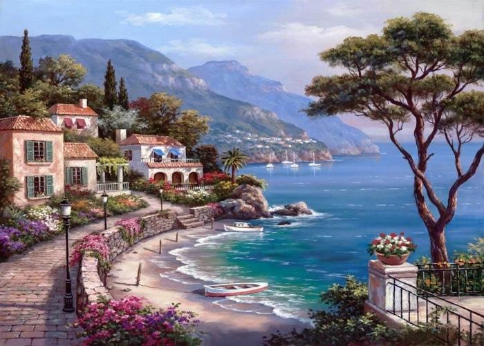 Deniz temalı manzara çizimi