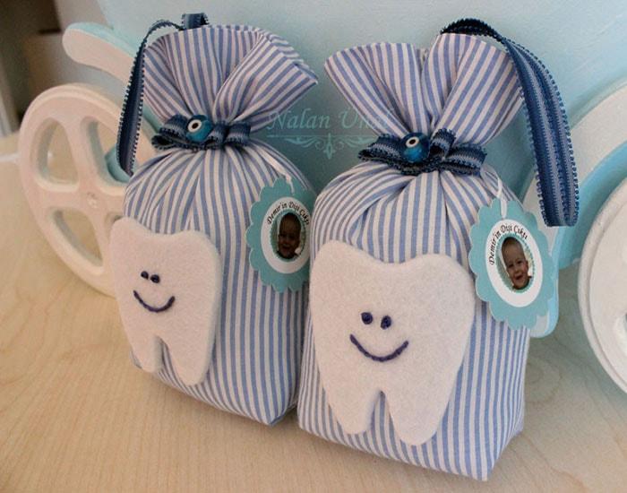 erkek bebek diş temalı mavi lavanta kesesi modeli