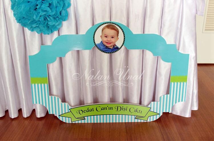 Erkek bebek mavi yeşil anı çerçevesi
