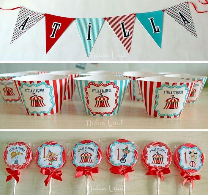 Sirk Temalı Doğum Günü Partisi Hazırlıkları, banner ve parti süsleri
