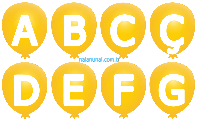 Sarı renkte dekupaj için harfler