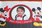 1 yaş doğum günü partisi mickey-mouse-konseptlı afiş poster