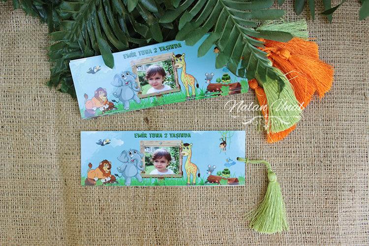 Safari temalı 2 yaş doğum günü hediyeliği kitap ayraçları