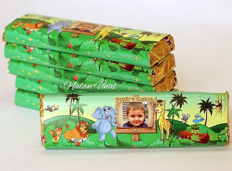 Kişiye özel fotoğraflı çikolata etiketi - Safari konsepti