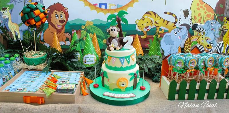 Safari konseptli doğum günü partisi