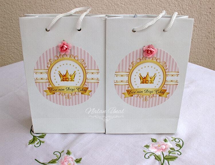 parti hediyelikleri için hediye çantaları pembe gold parti konsepti