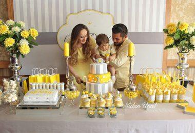 Sarı gri doğum günü konsepti
