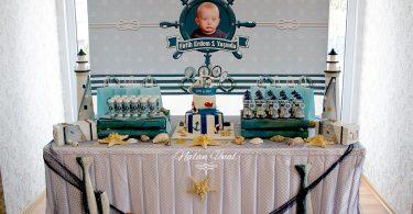 Denizci konsepti doğum günü masası ve arka plan