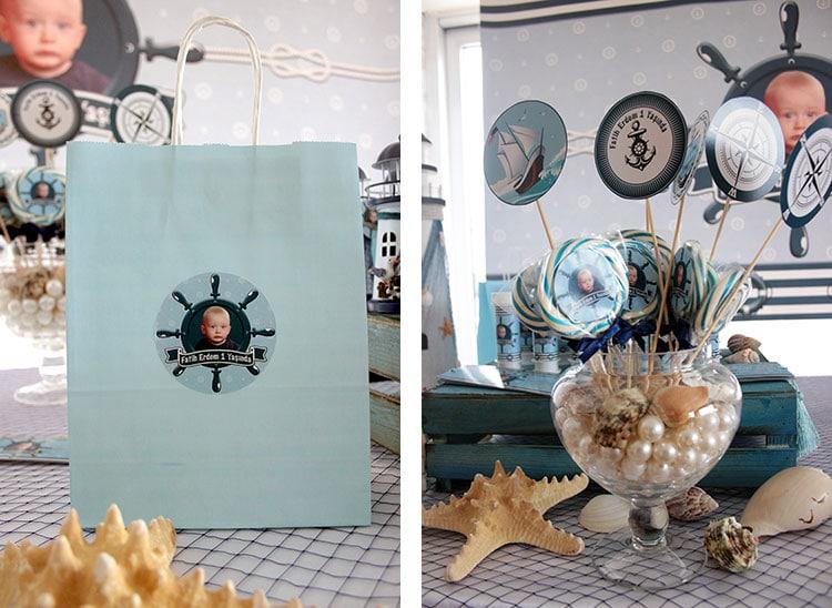 Kişiye özel isimli hediye çantası - Denizci konsepti