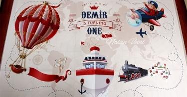Balon ve seyahat temalı doğum günü afişi